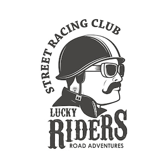 Шаблон эмблемы гоночного клуба. клуб уличных гонок. счастливчики. мужская голова в винтажном гоночном шлеме.