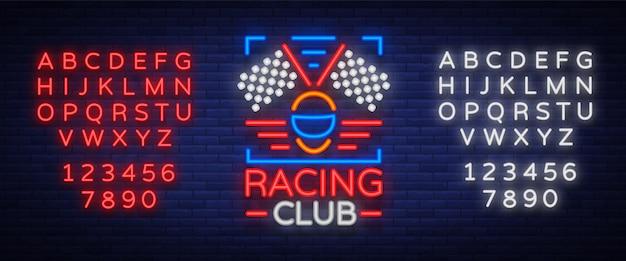 Racing club неоновый баннер