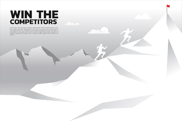 Racing competition of businessman running on mountain.