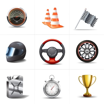 Racing decorative icons set