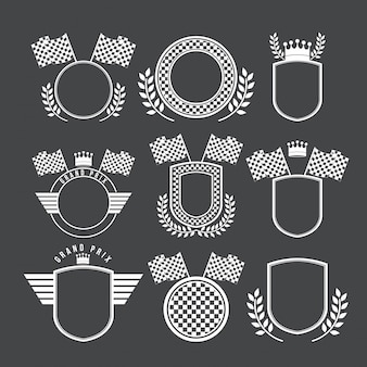 Racing design emblems set