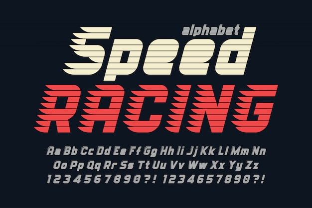 Racing display дизайн шрифта, алфавит, буквы и цифры.