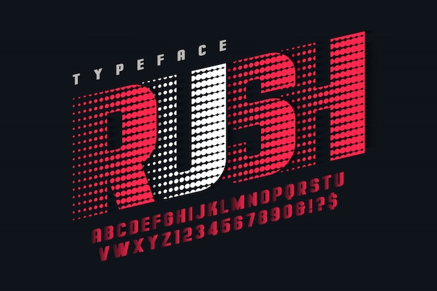 Racing display font design, alphabet, letters and numbers