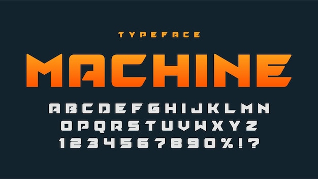 Гоночный дизайн шрифтов дисплея, динамический алфавит, буквы и цифры. векторные персонажи