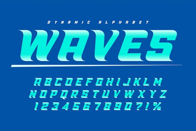 Racing display letters design, dynamic alphabet, numbers.