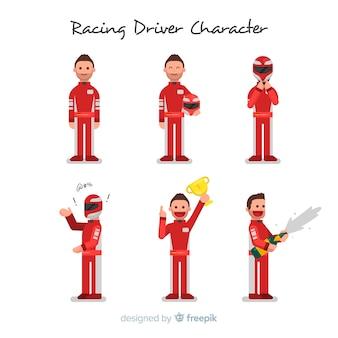 Collezione di personaggi del pilota da corsa