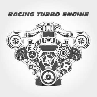 Гоночный двигатель с нагнетателем - турбомотор