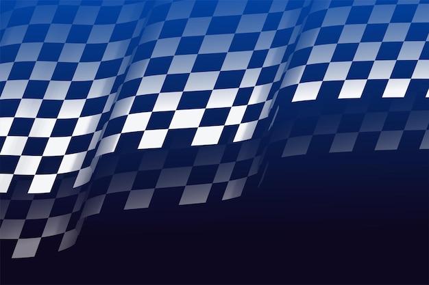 3dスタイルのレース旗の市松模様の背景