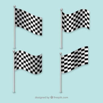 Racing flags waving lines vector
