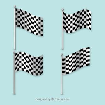 Racing flags waving lines vector