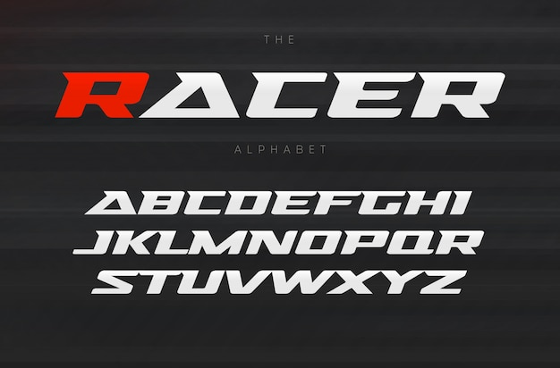 Racing font, aggressive and stylish lettering design. dynamic letters, italic wide font with modern serifs, sports alphabet.  typography design.