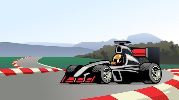 Гоночный автомобиль формулы на кольцевой трассе