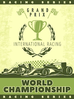 Racing green poster with sport cars and description of international racing world championship