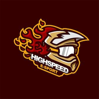 Racing helmet sport or e-sport gaming mascot logo
