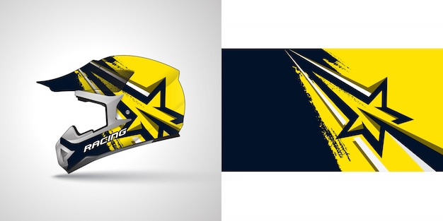 Racing helmet wrap illustration