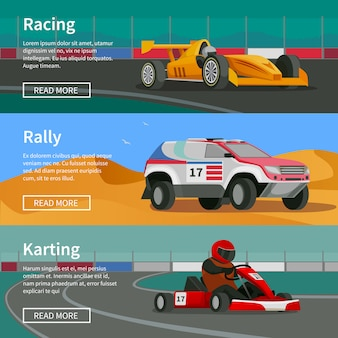 Racing horizontal banners collection