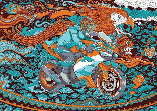 オートバイのイラストレーションのイラストレーション