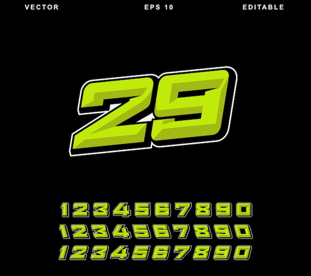Racing number yellow