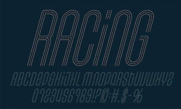 Racing road alphabet set. a collection of letters, symbols and numbers made in the road style.