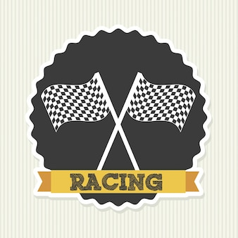 Racing seal over lineal background vector illustration