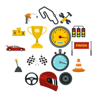 Racing speed set flat icons