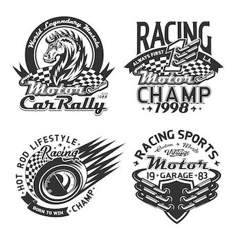 レーシングスポーツとカーラリーのtシャツプリント、モータースポーツ選手権のカスタムアパレル。レース旗、ワイルドマスタングホース、レース自動速度計、マフラーバッジテンプレートの開始と終了