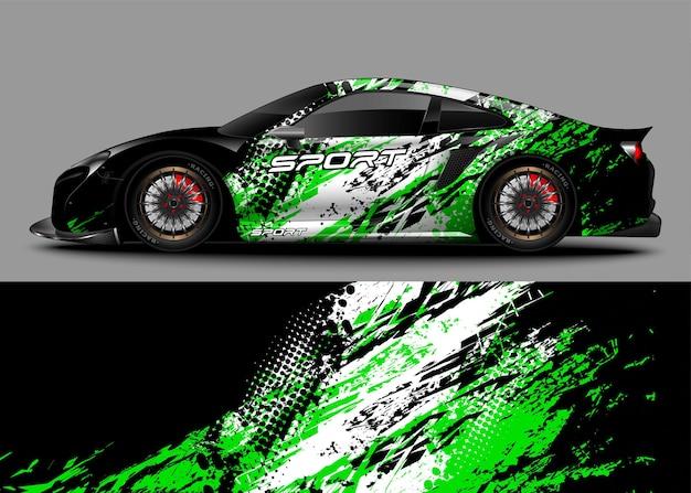 Гоночный спортивный автомобиль с наклейкой
