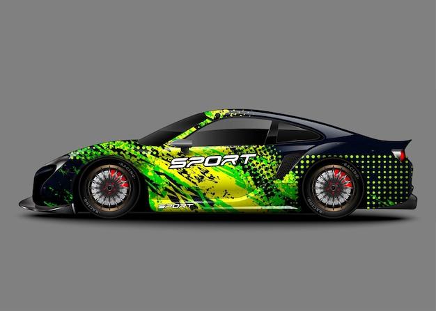 Гоночный спортивный автомобиль. оберните наклейку с наклейкой и ливрею автомобиля.
