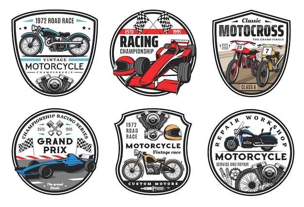 Иконки гоночных видов спорта, эмблемы чемпионата по мотокроссу и автомобильным гонкам. гонки на мотоциклах и спортивные автомобили, ралли или команда спидвей-клуба, колесо, гоночная трасса для спортивных автомобилей и знаки флага финиша