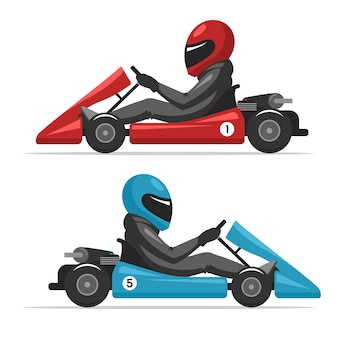 Racing on sport kart driver man in helmet.