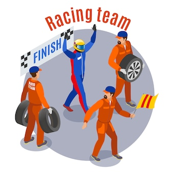 Racing sports composition with racinf team at finish symbols isometric