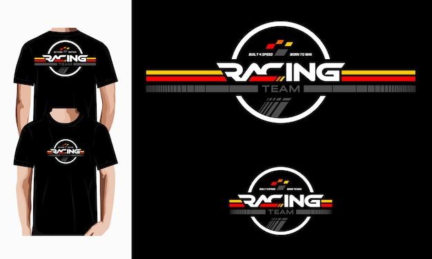 레이싱 팀 타이포그래피 벡터 디자인 티셔츠 프리미엄 벡터