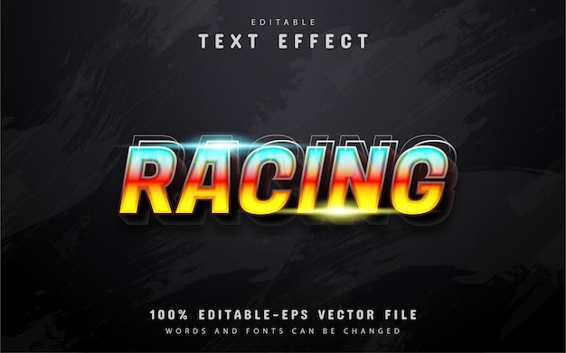 Racing text, 3d gradient style text effect