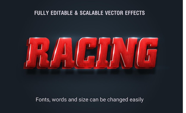 Racing text effect editable sport vector style