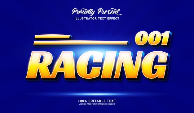 Racing text style effect. editable text effect