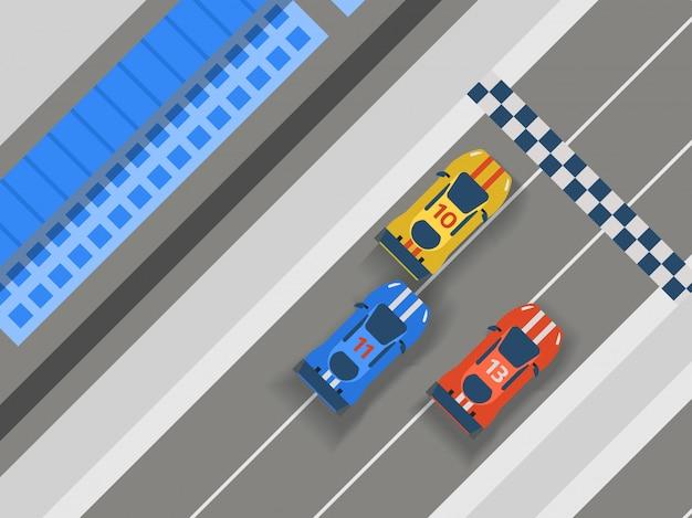 レーストラック道路、車のスポーツのイラスト。輸送道路トラック設計要素のトップビューコンストラクターの車両。