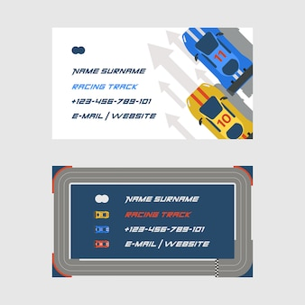 Racing track road car sport track set of business cards transportation roadway track