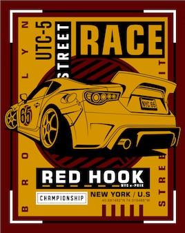 Racing typography art, graphic illustration