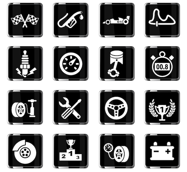 Гоночные веб-иконки для дизайна пользовательского интерфейса