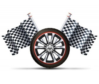 Racing Wheel With Flags