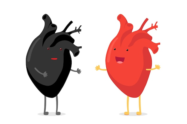 Racism concept confusion black human heart vs happy smiling emoji emotion cute red character of