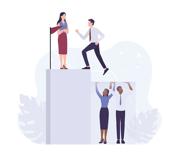 Racism concept. discrimination and enequal treatment based on race. white businessman and business woman climbing a career ladder.   .