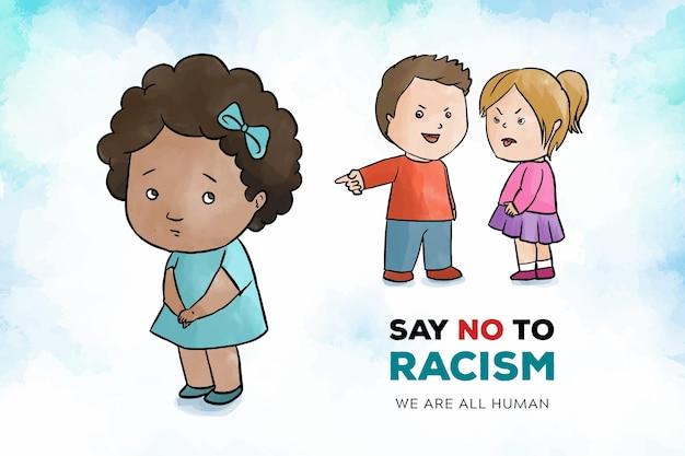 Концепция расизма с детьми Бесплатные векторы