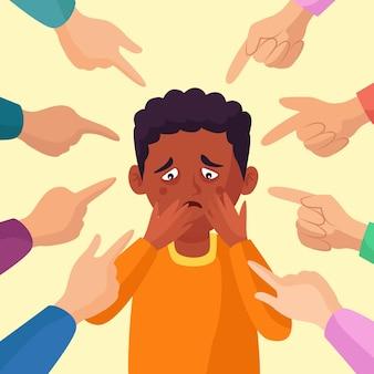 Концепция расизма с человеком, на который указывают Бесплатные векторы