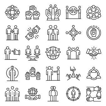 Racism icons set