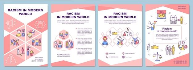 현대 세계 브로셔 템플릿의 인종 차별. 사회적 문제.