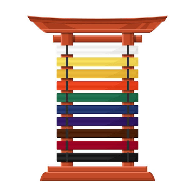 Rack for karate belts   wooden stand in asian style with multicolored crossbars.