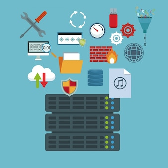 Rack server router and technology elements in icons floating
