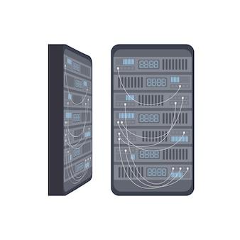 Стойка с серверным оборудованием. понятие серверной комнаты, банка данных, веб-хостинга. векторная иллюстрация