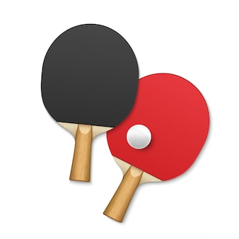 탁구 라켓. 탁구 테니스 게임 장비 공 배경 포스터